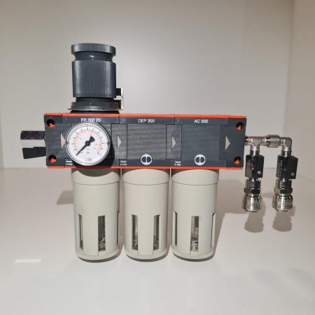 Baterie filtrare aer comprimat, MW D300, filtrare aer vopsitorie cu regulator, baterie 3 filtre, pana la 0.003 microni cu carbon activ, debit 950 l/min [1]