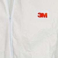 Combinezon protectie impermeabil ALB cu gluga 3M™ 50198 foarte rezistent, fără scame pentru uz general4