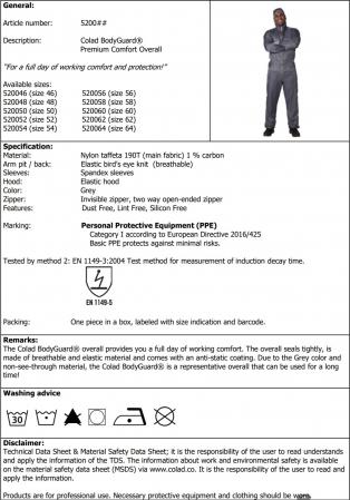 Combinezon protectie reutilizabil, Colad 5200xx BodyGuard® Premium comfort, culoare gri, cu gluga, material antistatic [8]