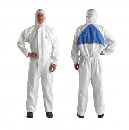 Combinezon protectie impermeabil ALB cu gluga 3M™ 50198 foarte rezistent, fără scame pentru uz general0