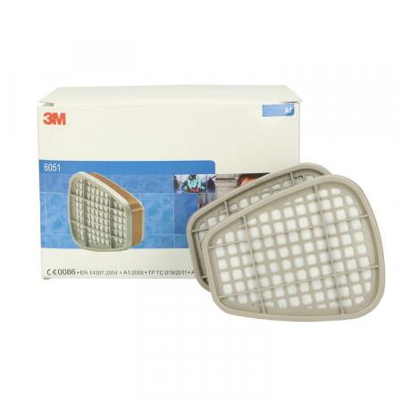 Filtre pentru masca 3M™ 6051 protectie A1, protejează împotriva gazelor și a vaporilor organici (set 2 filtre)0