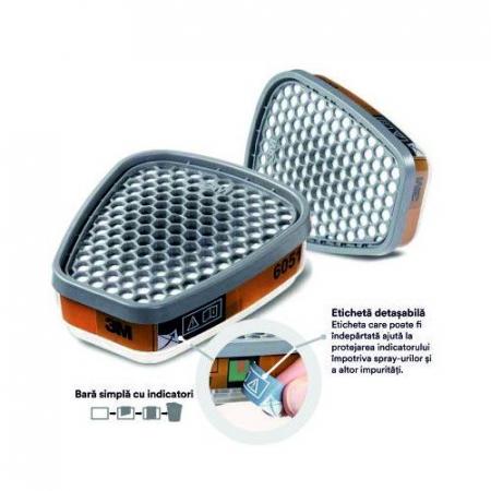 Filtre pentru masca 3M™ 6051 protectie A1, protejează împotriva gazelor și a vaporilor organici (set 2 filtre)2