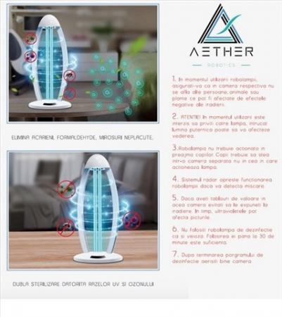 Lampa UV bactericida Aether oGuard Ozon, sterilizează și dezinfectează 99,9% de diferiți agenți patogeni bacterieni1