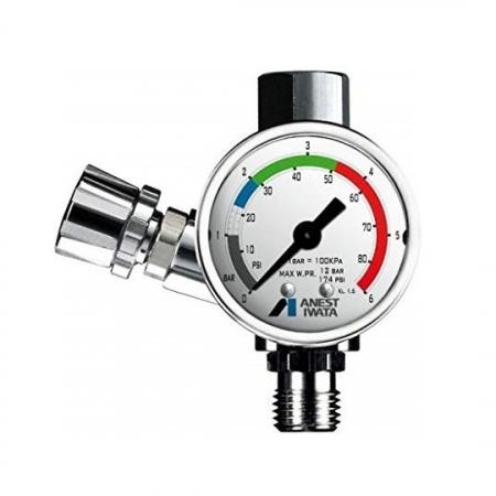 Regulator de presiune aer cu manometru mecanic, Anest Iwata AFV-1, montare pe furtun, cupla 1/4, maxim 12 bar [0]
