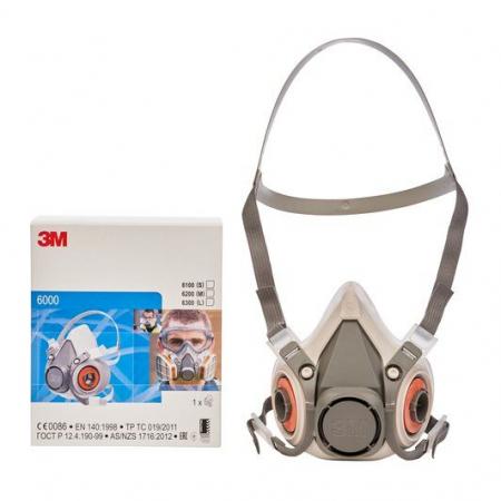 Masca protectie profesionala 3M™ 6200 Marime M, de protectie respiratorie, fara filtre (se comanda separat)3