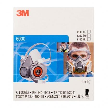Masca protectie profesionala 3M™ 6200 Marime M, de protectie respiratorie, fara filtre (se comanda separat)4