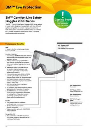 Ochelari de protectie 3M™ 2890SA etans cu aerisire indirecta, lentila incolora din policarbonat, cu strat anticondens si antizgariere2