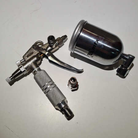 Pistol de vopsit pentru retus, Matrix 573189, cupa metal 200 ml, duza 0.5 mm, consum aer 35 l/min [4]