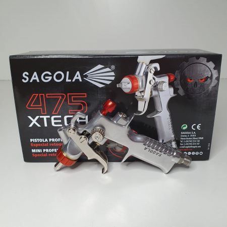 Pistol de vopsit pentru retus, Spray Gun 475 XTECH, cupa plastic 125 ml, duza 0.5 mm, consum aer de la 45 l/min [10]