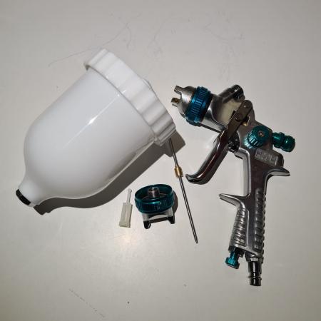Pistol de vopsit, STELS 57360, cana plastic 600 ml, duza 1.5 mm si 1.8 mm, consum aer 160- 220 l/min [1]