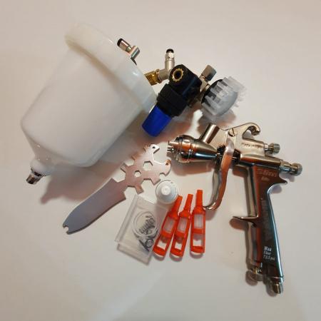 Pistol de vopsit, Walcom Slim HTE HD, consum aer 240 - 280 l/min, cana sus presurizata 600 ml, duza la alegere [5]