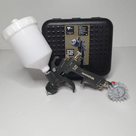 Pistol de vopsit, Walcom Slim KOMBAT HTE 8030xx,cupa plastic 600 ml, duza la alegere, valiza, regulator aer, consum aer incepand cu 250 l/min [11]
