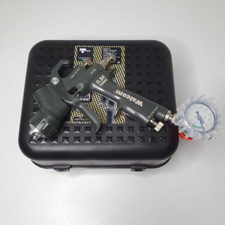 Pistol de vopsit, Walcom Slim KOMBAT HTE 8030xx,cupa plastic 600 ml, duza la alegere, valiza, regulator aer, consum aer incepand cu 250 l/min [14]