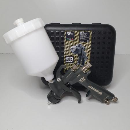 Pistol de vopsit, Walcom Slim KOMBAT HTE 8030xx,cupa plastic 600 ml, duza la alegere, valiza, regulator aer, consum aer incepand cu 250 l/min [10]