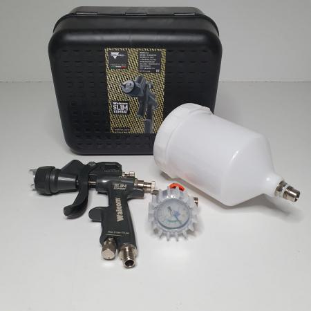 Pistol de vopsit, Walcom Slim KOMBAT HTE 8030xx,cupa plastic 600 ml, duza la alegere, valiza, regulator aer, consum aer incepand cu 250 l/min [18]