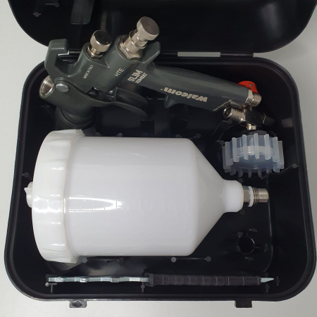 Pistol de vopsit, Walcom Slim KOMBAT HTE 8030xx,cupa plastic 600 ml, duza la alegere, valiza, regulator aer, consum aer incepand cu 250 l/min [8]