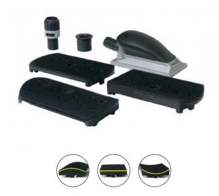 Bloc de slefuit manual Finixa SAB 07 cu maner si aspiratie ergonomic + 3 adaptoare forme diferite 150mm x 70mm0