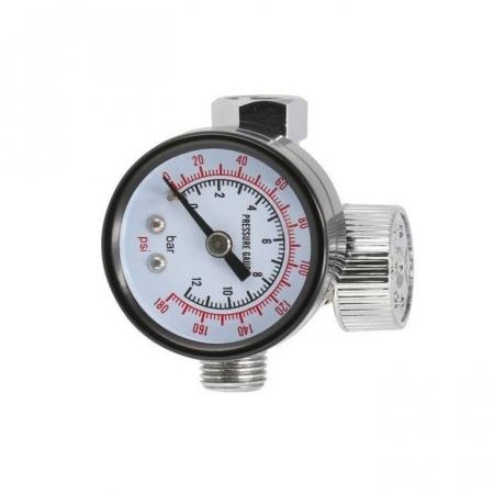 Regulator de presiune aer cu manometru mecanic, Airpress 44807, montare pe furtun, cupla 1/4, maxim 12 bar [0]