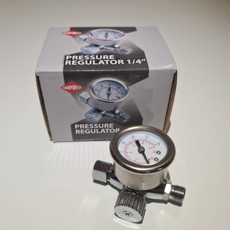 Regulator de presiune aer cu manometru mecanic, Airpress 45748-R, montare pe furtun, cupla 1/4, maxim 10 bar [3]