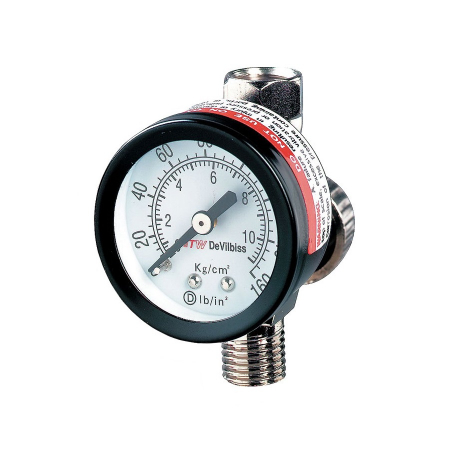 Regulator de presiune aer cu manometru mecanic, DeVilbiss HAV-501, montare pe furtun, cupla 1/4, maxim 11 bar0