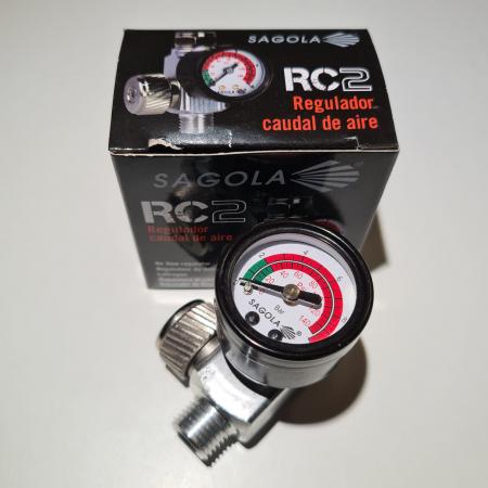 Regulator de presiune aer cu manometru mecanic, Sagola RC2, montare pe furtun, cupla 1/4, maxim 10 bar [4]