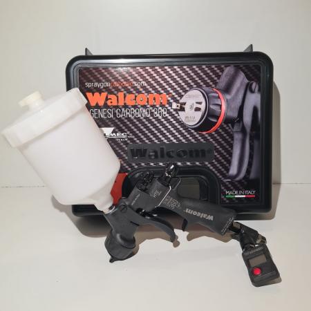 Pistol de vopsit, Walcom Genesi Carbonio 360 Light HTE clear(DIGITAL),cupa plastic 600 ml, duza la alegere, valiza, regulator aer, consum aer 380 l/min [2]