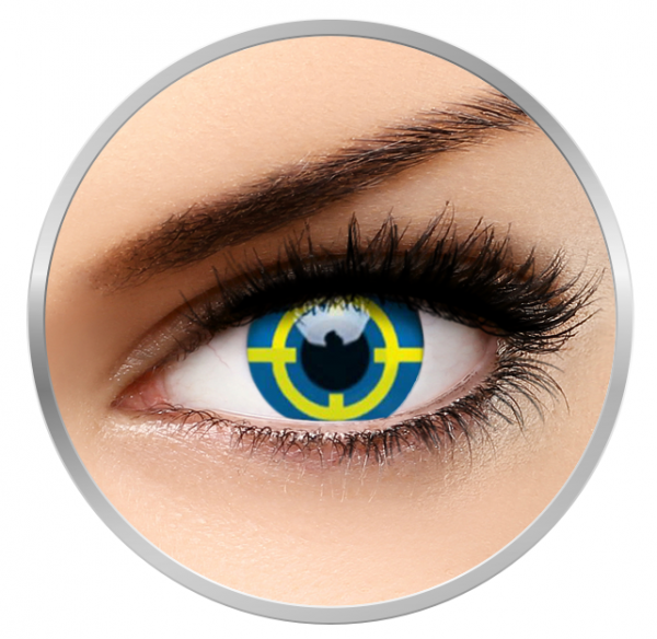 ColourVUE Crazy Yellow Target - Yellow Contact Lenses yearly - 360 wears (2 lenses/box)