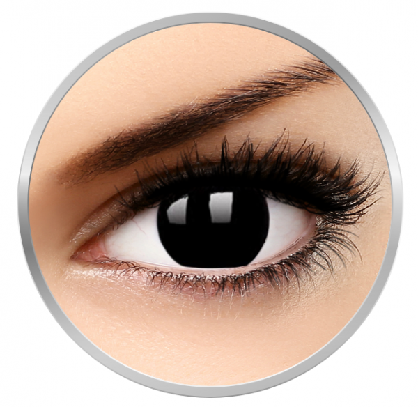 ColourVUE Crazy Blackout - Black Contact Lenses yearly - 360 wears (2 lenses/box)