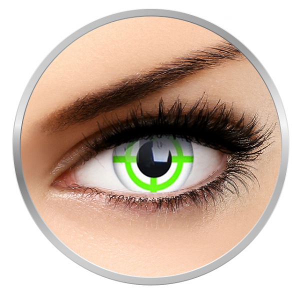 ColourVUE Crazy Green Target - White Contact Lenses yearly - 360 wears (2 lenses/box)