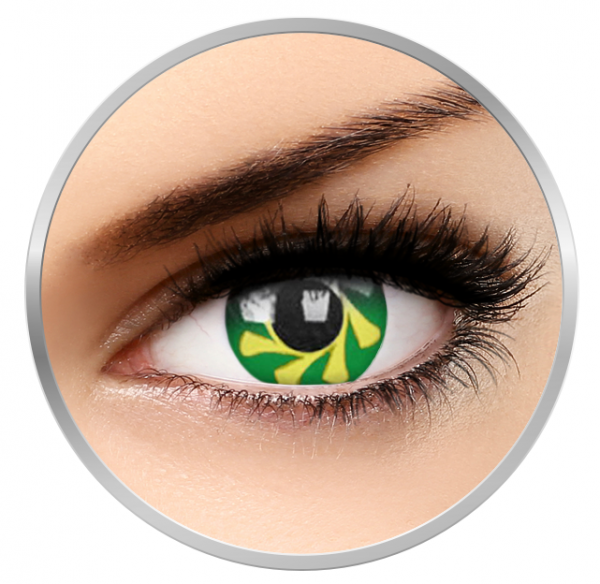 Phantasee Fancy Green Spin - Green/Yellow Contact Lenses yearly - 360 wears (2 lenses/box)