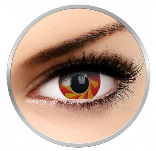 Phantasee Fancy Blood Spin - Red/Yellow Contact Lenses yearly - 360 wears (2 lenses/box)