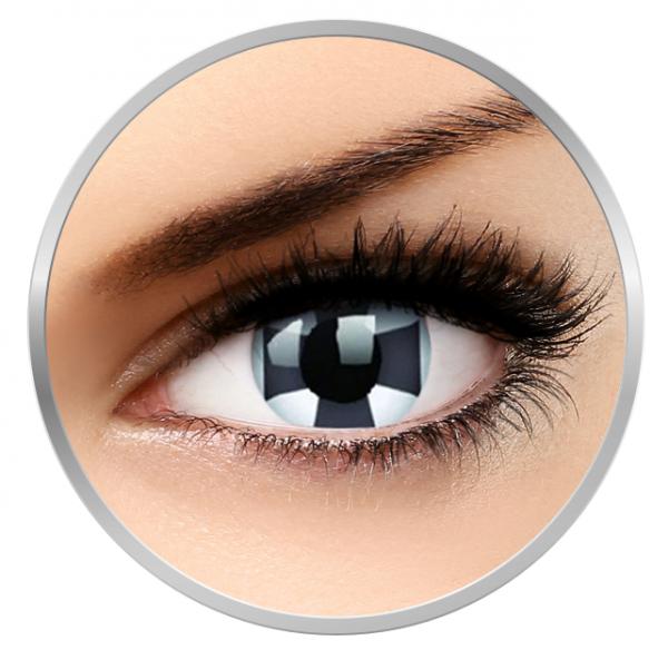 Phantasee Fancy Black Cross - White/Black Contact Lenses yearly - 360 wears (2 lenses/box)