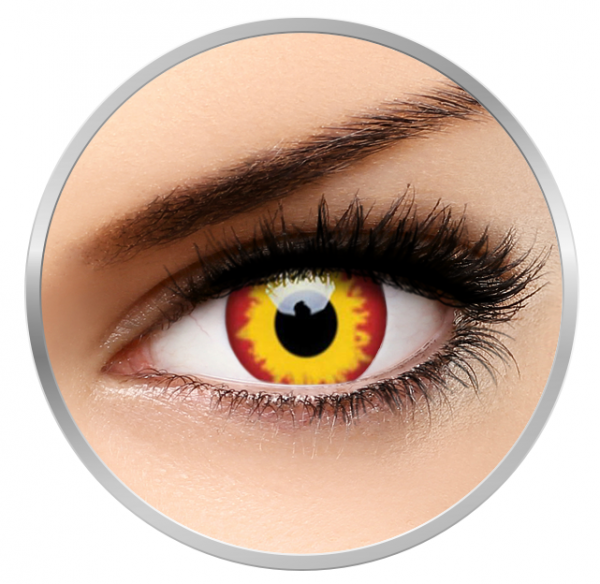 ColourVUE Crazy Wild Fire - Yellow Contact Lenses yearly - 360 wears (2 lenses/box)