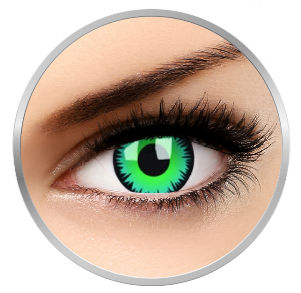 MaxVue Vision Crazy Green Werewolf -  Green Contact Lenses yearly - 360 wears (2 lenses / box)