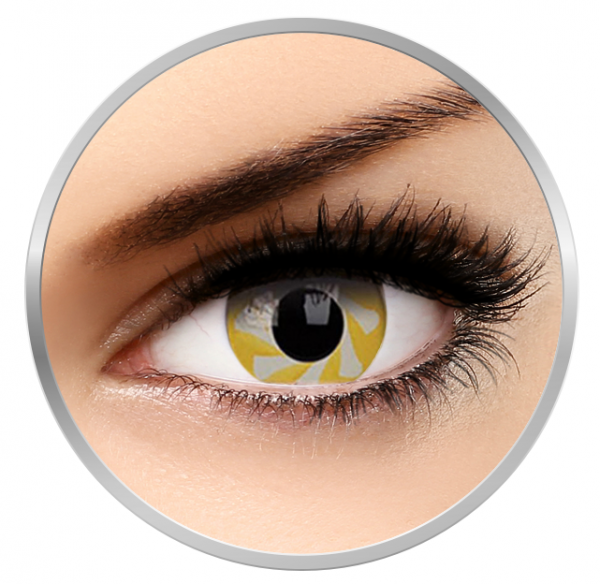 MaxVue Vision Fancy Yellow Spin - Yellow colored Contact Lenses yearly - 360 wears (2 lenses/box)
