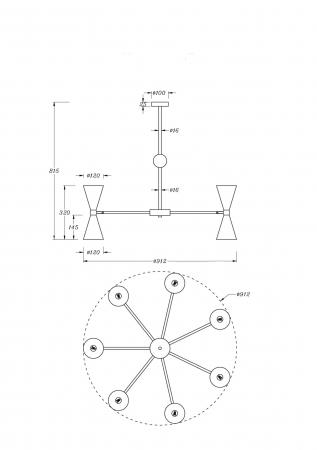 CANDELABRU VESPER 14 BECURI MOD108PL-14WG/BG [1]
