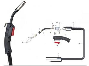 Pistolet MIG MAG 180A 2.5m fara conector euro1