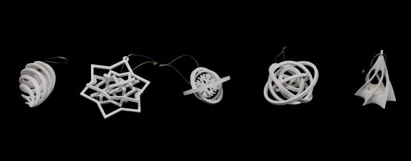 Set decoratiune de brad 3D din bioplastic ALB [1]