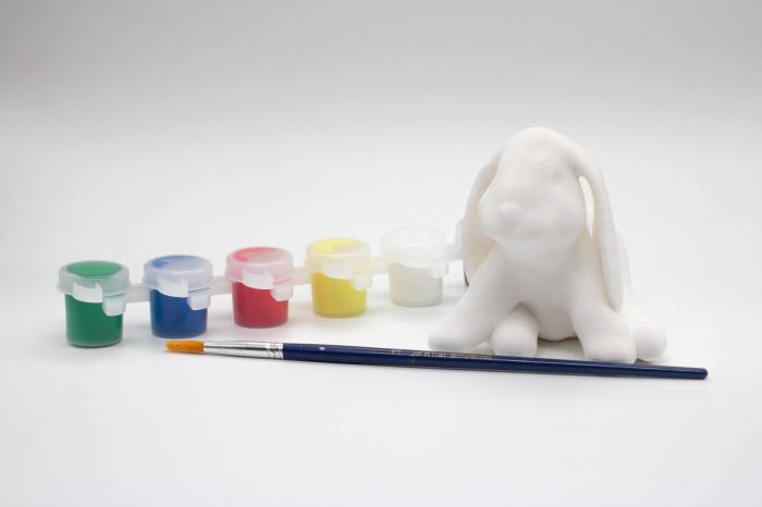Set de pictat figurina in miniatura iepuras, culori acrilice 6x3ml [0]