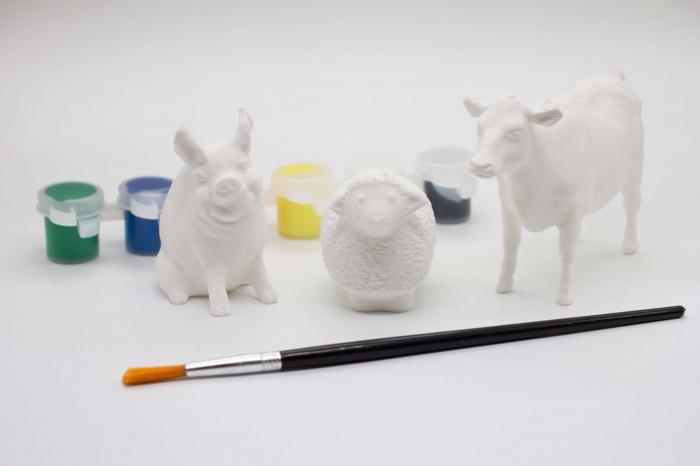Set de pictat figurine Animale Domestice My little farm (3 buc), culori acrilice 6x3ml [0]