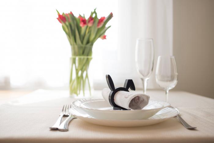 Sitting Rabbit Napkin ring - negru [2]