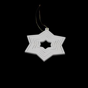 Decoratiune de Brad WiEB Stea 3D - ALB [1]