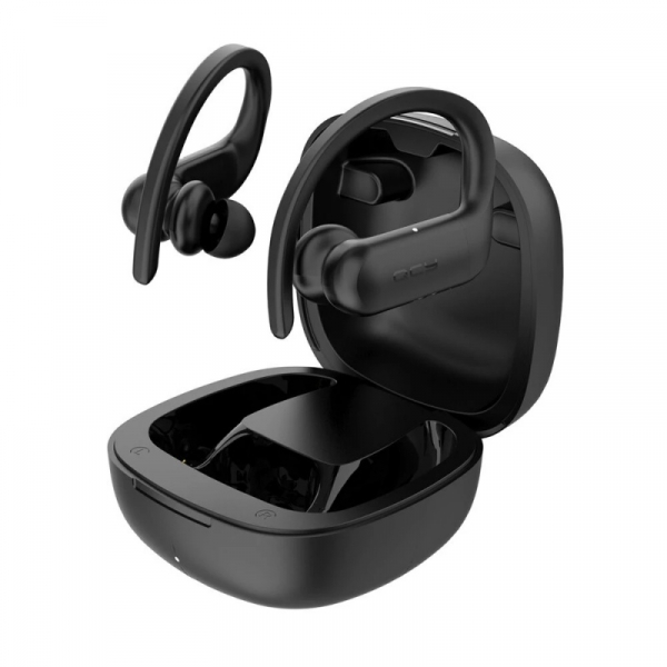 Casti bluetooth semi-in-ear QCY T6 cu cutie de incarcare si transport de 600mAh, 32Ω, Microfon, Bluetooth v5.0, IPX4, Negru 0