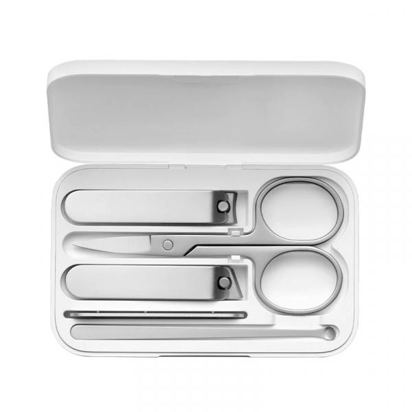 Set de manichiura si pedichiura Xiaomi cu 5 piese din otel inoxidabil si cutie magnetica de depozitare si transport 0