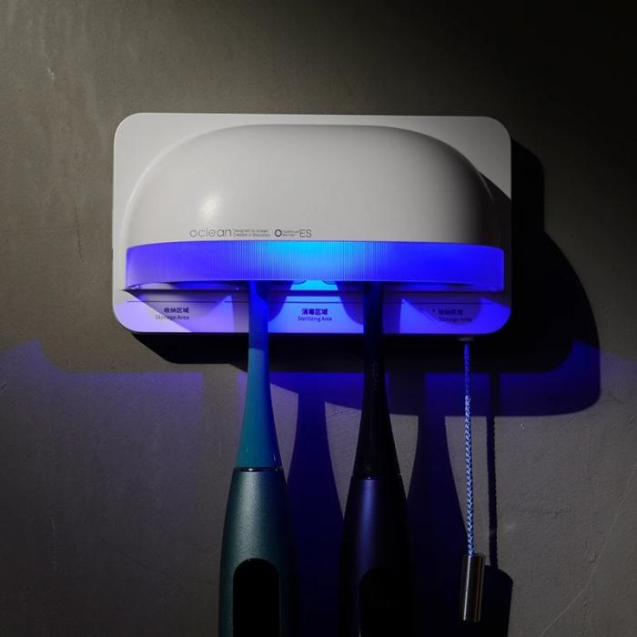 Sterilizator smart UVC LED Xiaomi Oclean S1 Gri cu 5 suporturi pentru periute de dinti si lame de barbierit 6