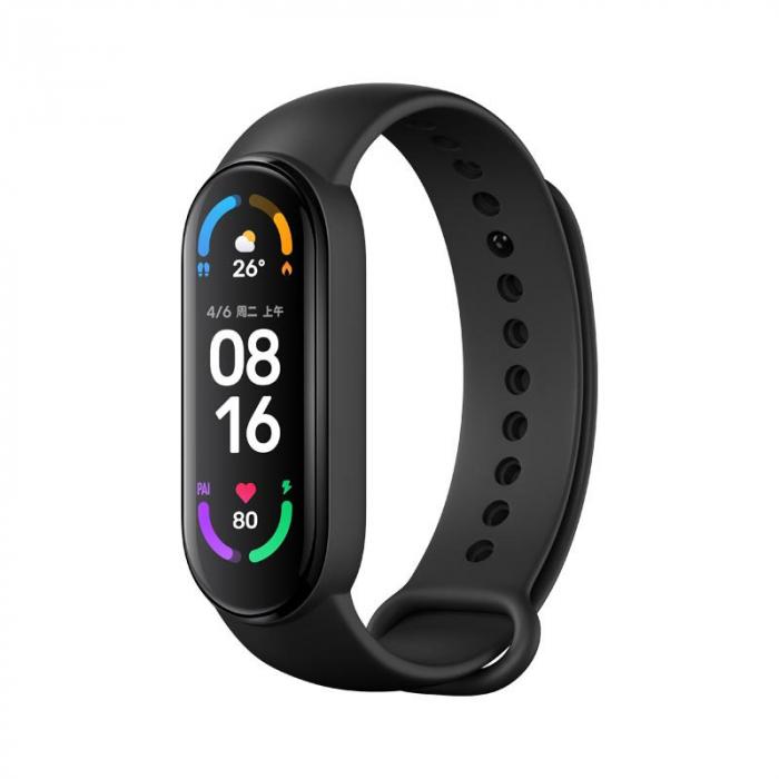 "Smartband Xiaomi Mi Band 6 Negru, AMOLED 1.56"", PAI, Ritm cardiac, Oxigen, Stres, Menstruatie, Inot, 30 moduri sport 0"