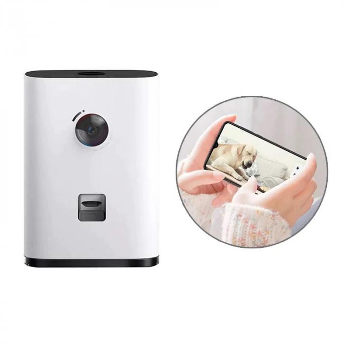 Dispenser hrana inteligent cu camera video FHD pentru caini si pisici Xiaomi Pawbby Smart Pet Snack Machine Alb, Interfon vocal cu 2 sensuri [1]