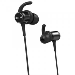 Casti bluetooth in-ear QCY M1c cu guler, 32Ω, Microfon, Control pe fir, Magnetice, Bluetooth v5.0, 90mAh, Negru1