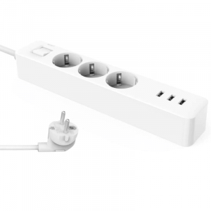 Prelungitor Xiaomi Mi Power Strip, 3 prize, 3 port-uri USB, 16A, 3680W, 1.4m cablu0