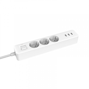 Prelungitor Xiaomi Mi Power Strip, 3 prize, 3 port-uri USB, 16A, 3680W, 1.4m cablu1
